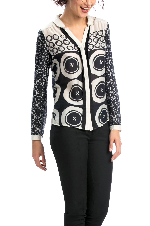 desigual schwarz wei e damen bluse marint mit seide gr l ebay. Black Bedroom Furniture Sets. Home Design Ideas