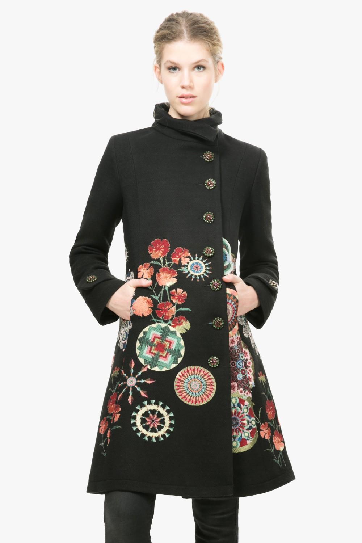 desigual bunter damen mantel in a linie winter mantel abrig sabadell gr 38 ebay. Black Bedroom Furniture Sets. Home Design Ideas