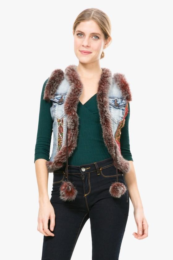 desigual damen rmellose jeans weste mit fell und stickereien chaq sol ebay. Black Bedroom Furniture Sets. Home Design Ideas
